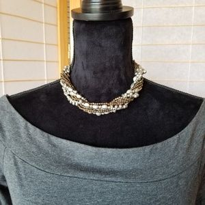 Multi-strand Silver and Bronze Beaded Necklace